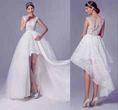 Find More Wedding Dresses Information about High Low Wedding Dresses With Detachable Skirt Beaded Short Front Long Back Layered Lace Bridal Wedding Gowns 2016 See Through,High Quality dress code wedding,China wedding dresses derby Suppliers, Cheap wedding dresses 500 from Ayaya Dress Shop on Aliexpress.com
