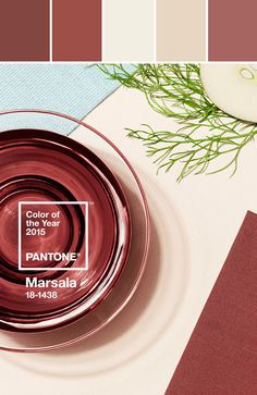 Pantone Color of the Year 2015 is Marsala! Here's a Marsala color palette for your inspiration. Pantone 2015, Marsala Pantone, Pantone Colors 2015, Colour Pallette, Colour Schemes, Color Combos, 2015 Color Trends, Color Swatches, Color Of The Year