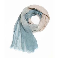 Blue & White Ombre Linen Scarf | This ombré linen scarf features Mediterranean blue ends that p... | Scarves & Shawls