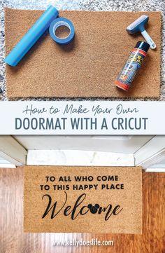Learn how to make your own DIY doormat using your Cricut! Disney Doormat design file included free with the tutorial. Disney Doormat, Cricut Stencil Vinyl, Cricut Tutorials, Disney Crafts, Silhouette Projects, Cricut Design, Diy Projects, Project Ideas, Craft Ideas