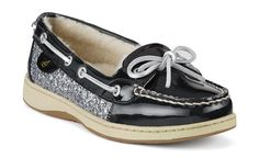 Sperry's Angelfish Slip-On in Black Patent & Silver Sequins- LOVE