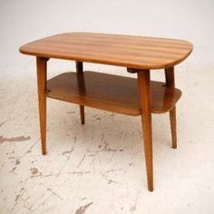 Walnut Retro 2 Tier Coffee / Side / T.V Table Vintage 1960's