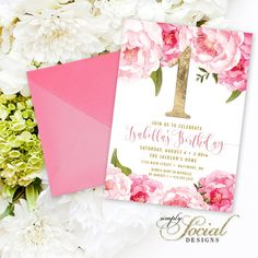 First Birthday Invitation - Pink Peony Ranunculus and Faux Gold Foil Watercolor Floral Boho Printable