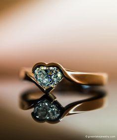 Custom made 18K Rose Gold Wrap Ring with Heart-Cut Center Diamond