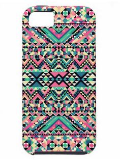 Pink Turquoise Girly Aztec Tribal iPhone 5 Case #PinAds