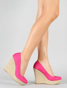 Qupid Resort-01 Fuchsia New Color Wedges Platform High Heel Espadrille Coral Sexy Causal Women Shoes (5.5) - 34$
