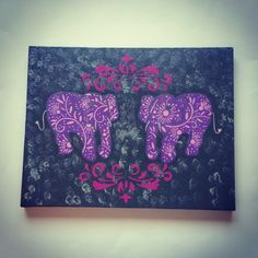 Purple elephants acrylic canvas painting for baby by StarrJoy16, $35.00