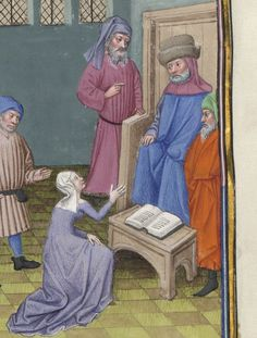 Short bench-like table or possibly a footstool. Fol. 23v, Le Decameron,  Library of Arsenal, Ms-5070 Reserve, circa 1430's.