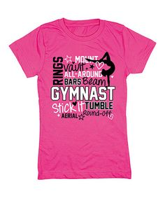Look at this Tee Motion Raspberry Gymnastics Doodle Fitted Tee - Girls on today! Gymnastics Funny, Gymnastics Shirts, Softball Shirts, Gymnastics Outfits, Sport Gymnastics, Gym Shirts, Cute Shirts, Justice Clothing, Gym Gear
