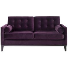 Tufted velvet loveseat with a wood frame.  Product:  Loveseat  Construction Material: Wood and velvet Col...