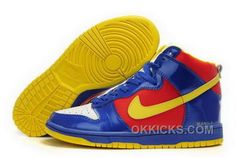 Nike Dunk SB 2012 New High Cut Mens Shoes superman blue red yellow white