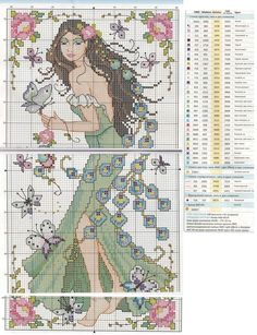 0 point de croix femme paon et fleurs - cross stitch peacock lady and flowers
