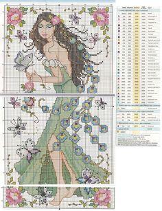 0 point de croix femme paon et fleurs - cross stitch peacock lady and flowers