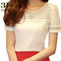 Barato Blusas Femininas 2015 verão estilo Beading recorte Chiffon camisa blusa mulheres Tops Plus size mulheres roupas Camisetas, Compro Qualidade Blusas diretamente de fornecedores da China:                                     Warmming Dicas                                                        Nota 1.