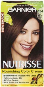 Garnier Nutrisse Permanent Haircolor, 434 Deep Chestnut Brown by Garnier. $4.54. Richer, long-lasting color. 100% gray coverage. Silkier, shinier, more nourished hair. Triple fruit oils. Triple nourishment--avocado + olive and shea. Nourished hair, better color. Experience garnier nutrisse, the only color creme with grape seed oil and a nourishing avocado + olive and shea conditioner. It gives your hair rich, radiant color from root to tip with up to 100 percent gray coverage....