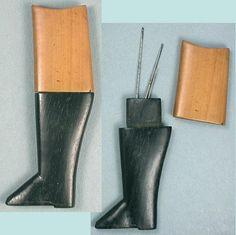 Antique Rosewood & Boxwood English Riding Boot Needle Case; Circa 1830