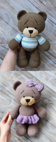 Beautiful # Teddy # Bear # Amigurumi # - # Tutorial # # Amigurumi # # crochet # # Tutorial # by hand, Chat Crochet, Crochet Bear, Love Crochet, Crochet Patterns Amigurumi, Baby Knitting Patterns, Amigurumi Doll, Crochet Dolls, Crochet Teddy Bear Pattern Free, Free Pattern