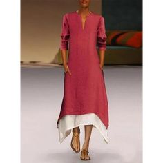 Contrast Color Casual Maxi Dress With Pocket Product Name cotton/linen contrast color casual maxi dress with pocket SKU Material cotton/linen Style Casual Occasion Daily life Product no. Name cotton/linen contrast color casual maxi dress with pocket SKU Boho Summer Dresses, Summer Dresses For Women, Fall Dresses, Casual Dresses, Dresses Dresses, Flower Dresses, Summer Maxi, Lounge Dresses, Vintage Dresses
