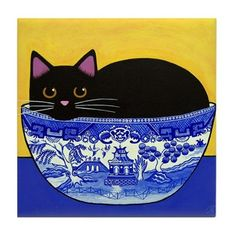 Black Cat In Blue Willow Bowl Print Poster by Wild Sunflower Studio I Love Cats, Crazy Cats, Cute Cats, Weird Cats, Black Cat Art, Black Cats, Black Kitty, Frida Art, Cat Photography