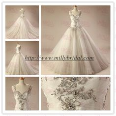 2014 Embroidery Wedding Dress with Beaded top and tulle skirt WD0002