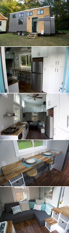 Looking to downsize to a tiny house in retirement? The Painted Home Co built this home with an elevator bed that raises and lowers over the couch.