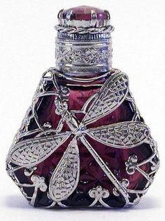 Vintage Czech Hand Made Perfume Bottle w/Topper by EceM