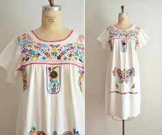 Embroidered Mexican Dress Vintage Oaxacan Dress Large by glorywild