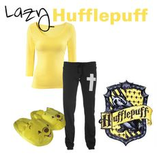 Lazy Hufflepuff by sad-samantha on Polyvore featuring polyvore, fashion, style, H&M, Wildfox, Disney and clothing