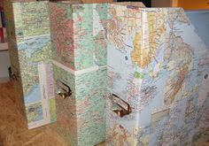 See What We Can Do With Maps and Mod Podge! Magazine holder
