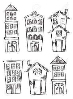 Drawing Doodles Sketches Set of building in doodle style Stock Photo More - - Millions of Creative Stock Photos, Vectors, Videos and Music Files For Your Inspiration and Projects. House Colouring Pages, Coloring Pages, Coloring Books, Doodle Lettering, Hand Lettering, House Doodle, Doodle Inspiration, Fitness Inspiration, House Drawing