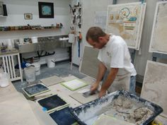 Fresco School - Ian Hardwick demonstrating fresco plaster application during fresco painting workshop