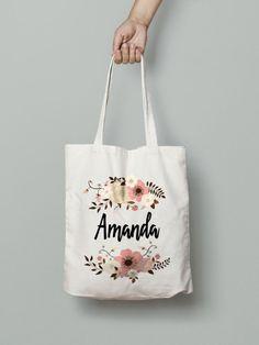 Personalised Floral Tote Bag  Bridesmaid Tote Bag  by Mybebecadum