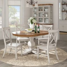 South Hill Oval Extendable Pedestal Base Dining Table - Antique White - Inspire Q furniture diy rustic furniture rustic furniture furniture bedroom Pedestal Dining Table, Dining Table In Kitchen, Extendable Dining Table, Kitchen Decor, Kitchen Design, White Oval Dining Table, Small Round Kitchen Table, Farmhouse Kitchen Tables, Country Dining Rooms
