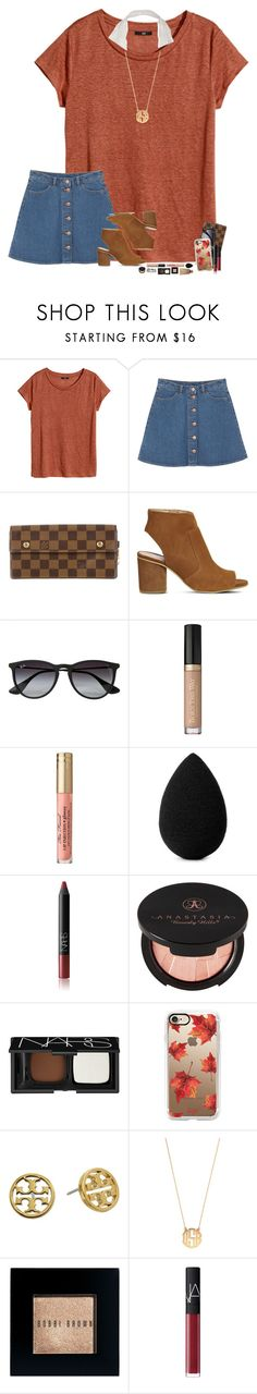 """""""@sassysouthernprep99 is coming over soon!"""" by hopemarlee ❤ liked on Polyvore featuring H&M, Monki, Louis Vuitton, Office, Ray-Ban, beautyblender, NARS Cosmetics, Anastasia Beverly Hills, Casetify and Tory Burch"""