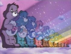 Care bear stare, that was the serious part lol. Love the care bears Care bear stare, that was the serious part lol. Love the care bears Bedroom Wall Collage, Photo Wall Collage, Picture Wall, Cartoon Wallpaper, Bear Wallpaper, Rainbow Aesthetic, Purple Aesthetic, Brown Aesthetic, Care Bears