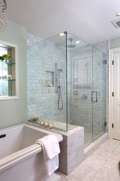 DON'T like how Exposed the shower is Here - Would want that wall by the Tub to go 3/4 way up or all the way to seperate out the Shower from the view of the rest of the room.