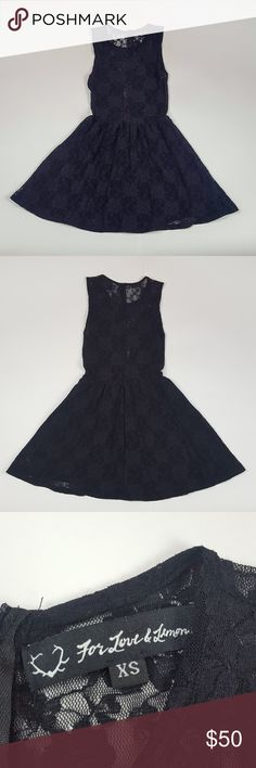 "For Love & Lemons Lulu Fit & Flair Lace Dress For Love & Lemons lulu fit and flair black lace skater dress, size extra small. Lace body with black slip underneath so it isn't sheer. Lace mesh cutout in the bust. Zipper in the back. Classic black dress every women should have in her closet. Sheer back.  97% nylon 3% spandex  Approximate measurements laid flat: Pit to pit - 12"" Length - 29"" For Love And Lemons Dresses Mini"