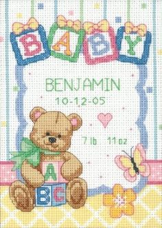 Amazon.com: Dimensions Needlecrafts Counted Cross Stitch, Baby Blocks Birth Record: Arts, Crafts & Sewing