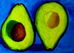 Do you prefer avocados with blue background? Here is one idea for your kitchen decor, available as print.  #art #kitchendecor