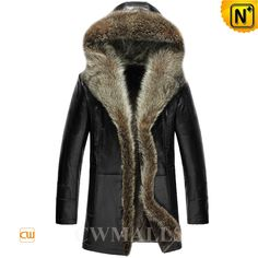 CWMALLS Hooded Fur Coat for Men CW855306 Hooded shearling fur coat crafted from luxu raccoon fur, thick lamb fur shearling and genuine lambskin leather shell, this artful style shearling parka designed in a supple raccoon fur-trimmed hood and front button closure keeps you warm during winter. www.cwmalls.com PayPal Available (Price: $1615.89) Email:sales@cwmalls.com