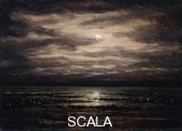 ******** Courbet, Gustave (1819-1877). Twilight on Lake Leman in Bon Port; Le Leman au Crepuscule devant Bon Port. 1876