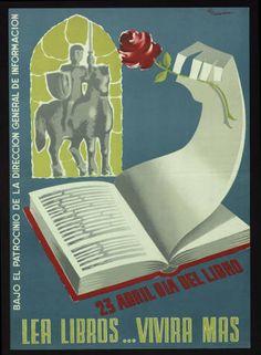 Lea libros...vivira mas : 23 abril dia del libro : bajo el patrocinio de la Dirección General de Información :: Cartells (Biblioteca de Catalunya)