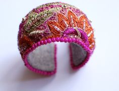 Upcycled embroidery bohemian cuff by ChillaVanilla on Etsy, $38.00
