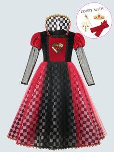 Queen Of Hearts Halloween Costume, Red Queen Costume, Halloween Outfits, Halloween Costumes, Princess Outfits, Princess Costumes, Girl Costumes, Queen Of Hearts Alice, Lizzie Hearts