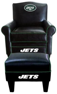 New York Jets Leather Game Time Chair and Ottoman at www.SportsFansPlus.com