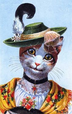 Cat Chat Katze Green Hat with Feather from Thiele Postcard Magnet | eBay