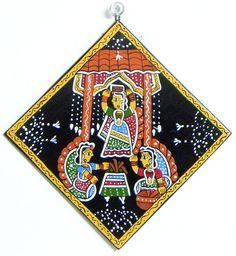 Ladies Performing Havan - Wall Hanging (Madhubani Folk Art on Hardboard))