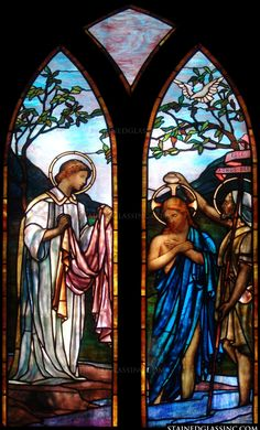 """""""Jesus is Baptized Gothic"""" Religious Stained Glass Window"""