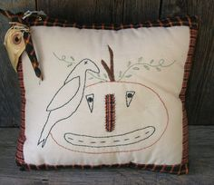 Primitive Fall Pillow by MyOldeThings on Etsy, $17.75