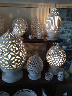 An array of lanterns at Enza Fasano's showroom in Puglia, Italy | shop our Enza table and home decor at www.giardinidisole.com